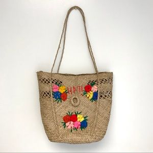 Haiti   woven straw market tote floral embroidery